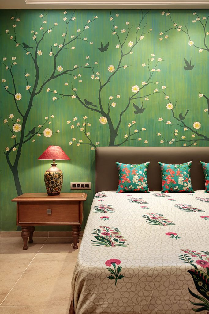 A hand painted wall in the master bedroom.