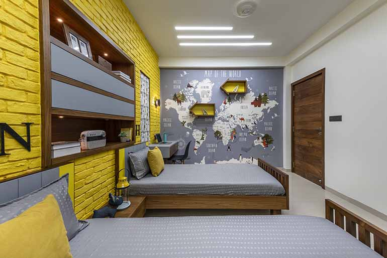 The world wallpaper is a customised one in the kids room.