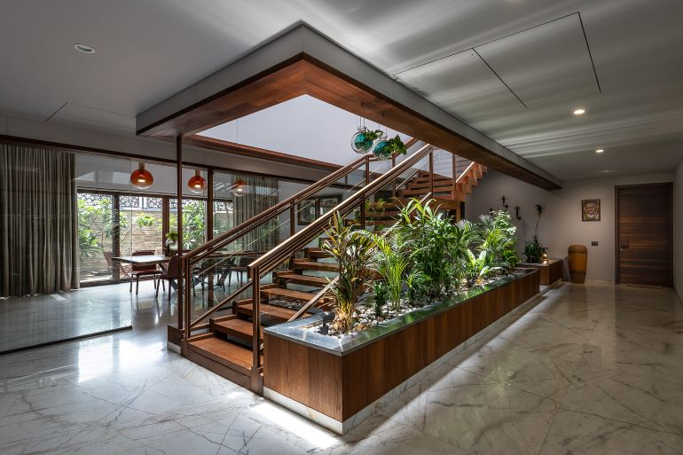 This remarkable staircase is an architectural feature of the house in itself.