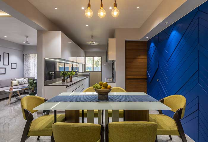 A 1,120 Sq.Ft Ahmedabad Apartment with a Bold Blue Wall.
