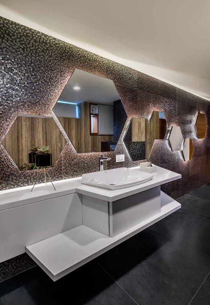 Hexagonal mirrors in bathroom. Vastu compliant house in Bangalore