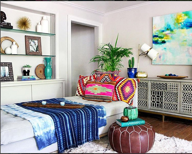 Alyse's bohemian living room in New Orleans