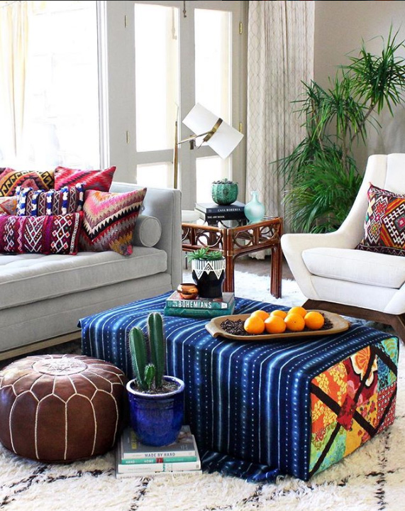 Eclectic and vibrant living room decor ideas from the home of a textile designer