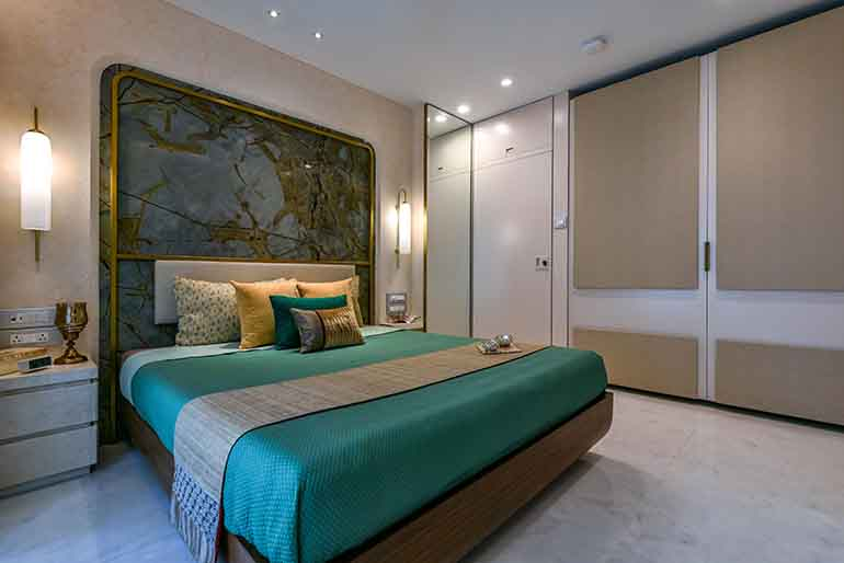 Ivory + peach colored master bedroom.