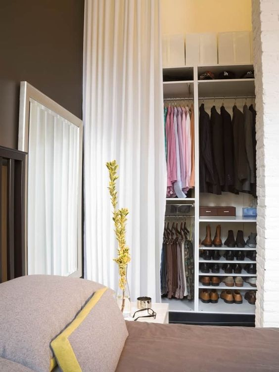 budget friendly way to hide clutter in a closet