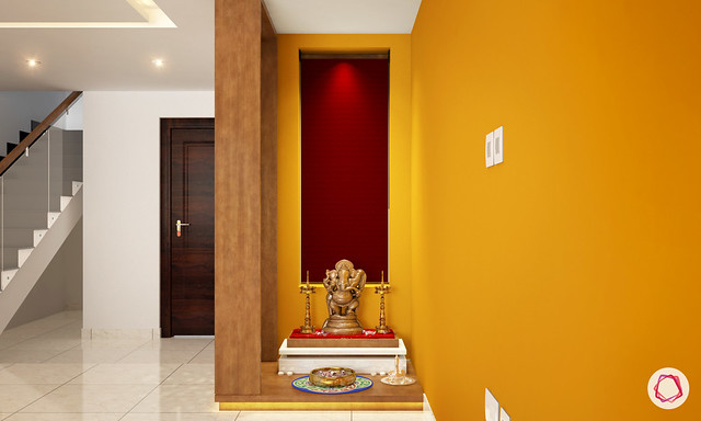 A single shelf pooja room design in a quiet space / niche in a home.