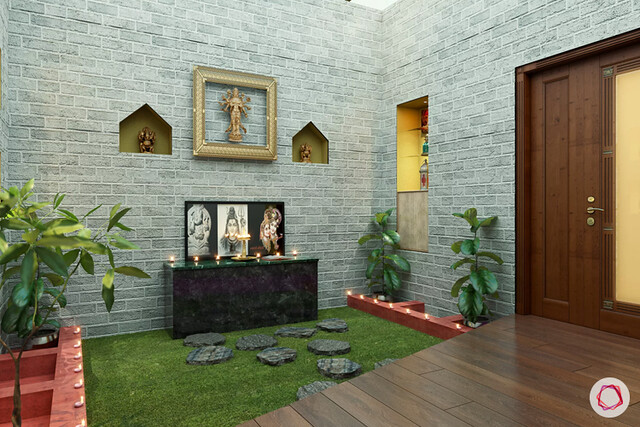 A puja room in stone.
