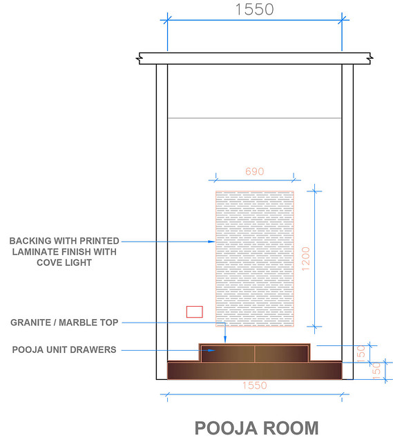Specification to design a pooja room with dimensions.