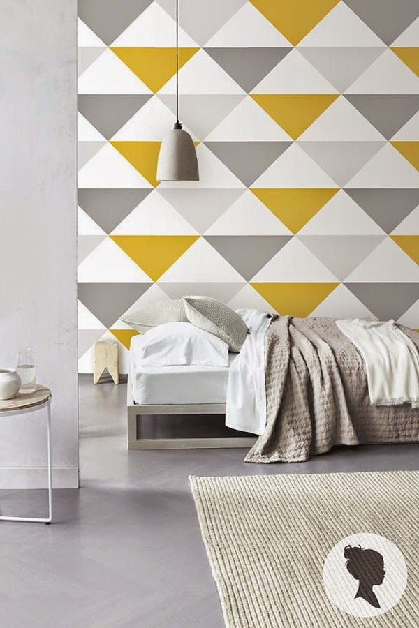 A colourful triangle geomteric accent wall
