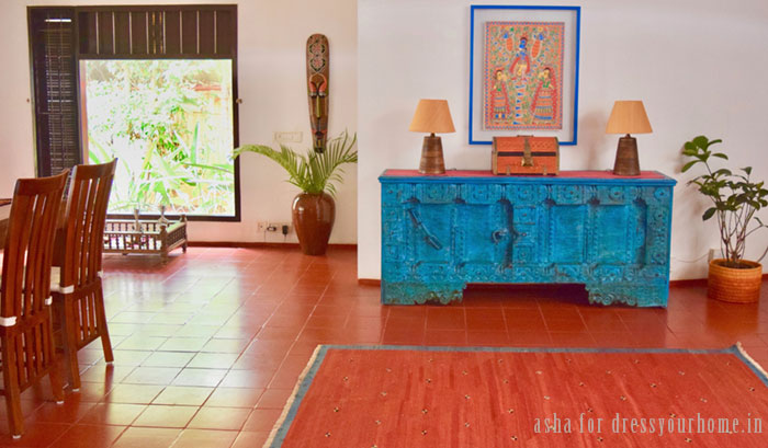 The blue cabinet is a repurposed door from Gujarat bought at Jew street in Kochi. The jewellery box is an antique from Kerala.