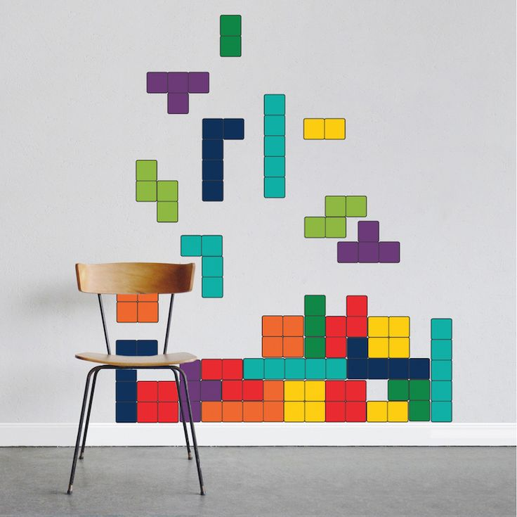 Tetris-inspired accent wall