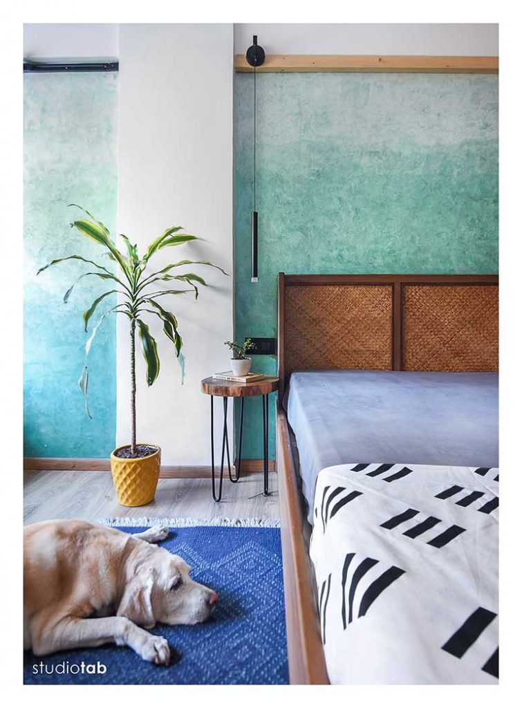 Shades of blue in the master bedroom.