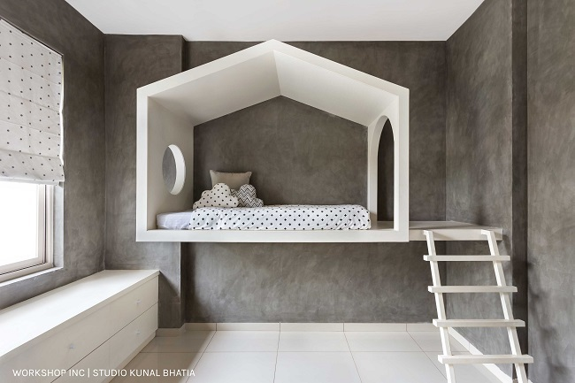 A nordic style minimalist bunk bed in kids room