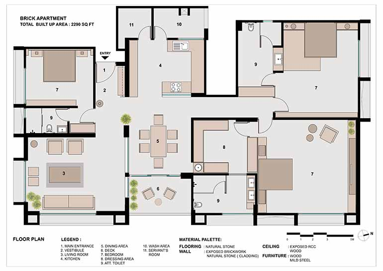 Layout of the 3-BHK apartment in Ahmedabad designed by architecture firm the Grid Architects