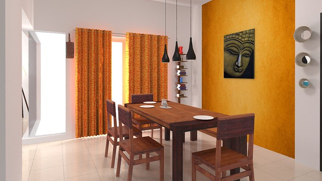 furdo design of dining room orange accent wall with buddha