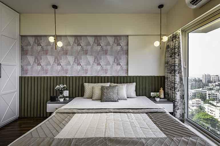 Geometric wallpaper in master bedroom
