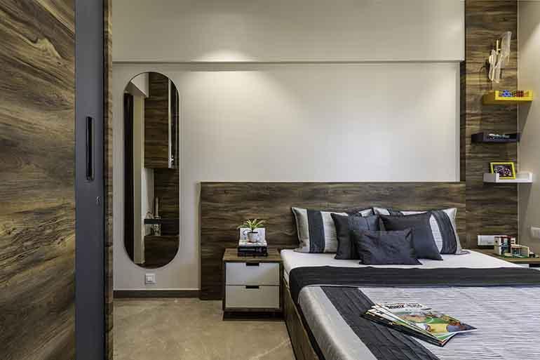Dark monochromatic bedroom