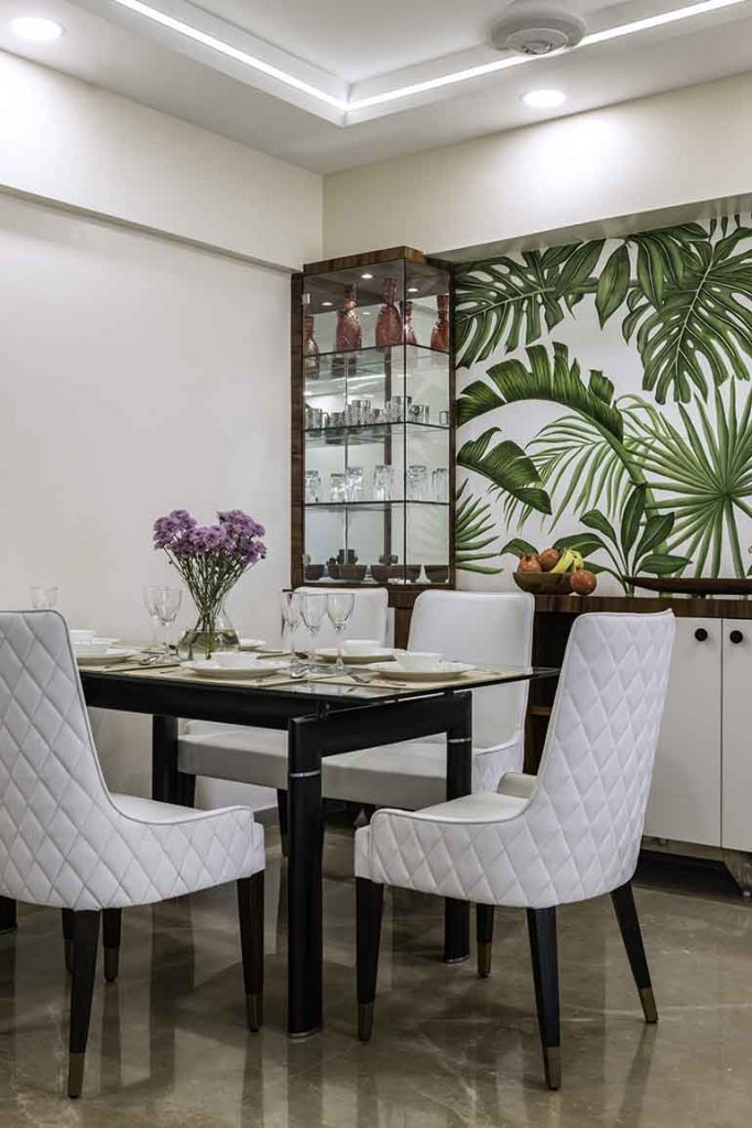 Hand drawn foliage in dining room