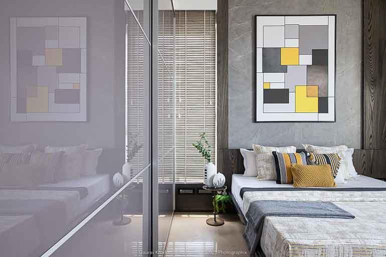 The vibrant interiors of a 3 BHK apartment in Mumbai.