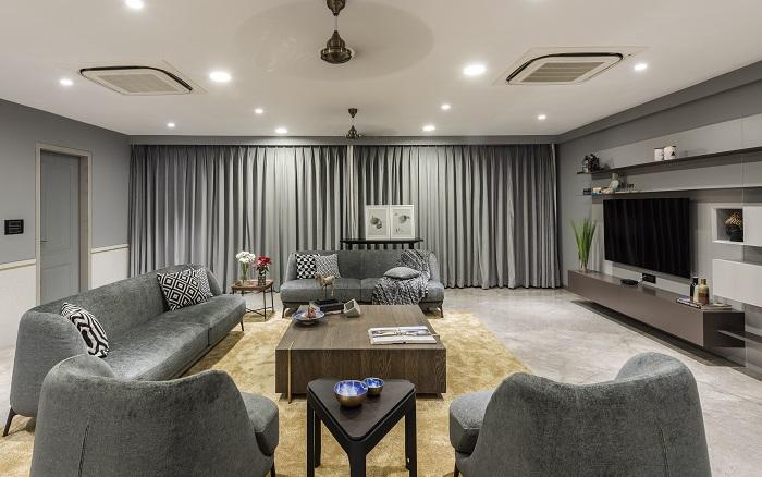 Interior design of a contemporary apartment in Surat