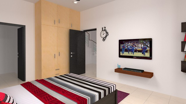 furdo design of guest bedroom with sleek tv unit