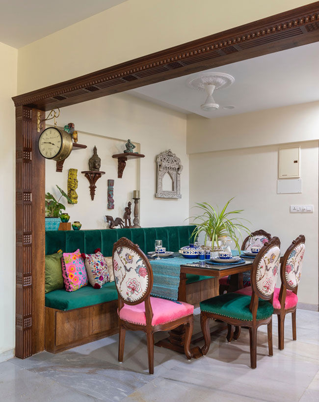 Beautiful furnishing for dining room chairs in this traditional design of an Indian apartment