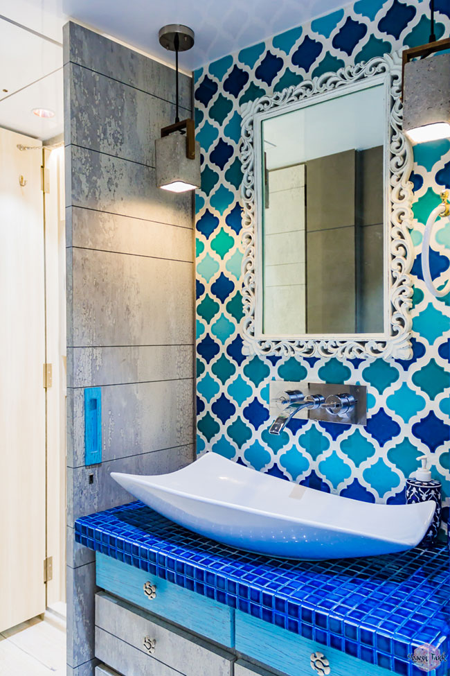 Moroccan tiles in kids bathroom.