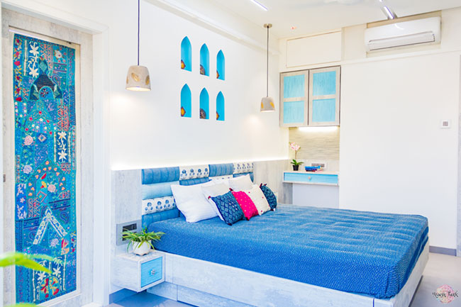 Rann of Kutch inspired kids bedroom with blue upholstery and wall niches