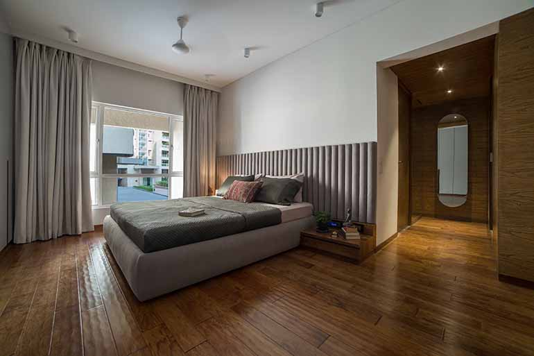 Luxury apartment in Pune designed by RDa: The ember engineered wooden flooring is from Xylos.