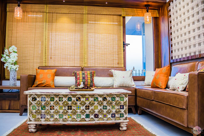 A traditional Indian room with chest as a coffee table