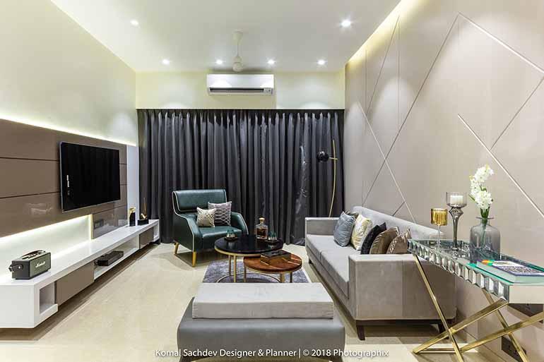 Contemporary apartment design by Komal Sachdev in Mumbai