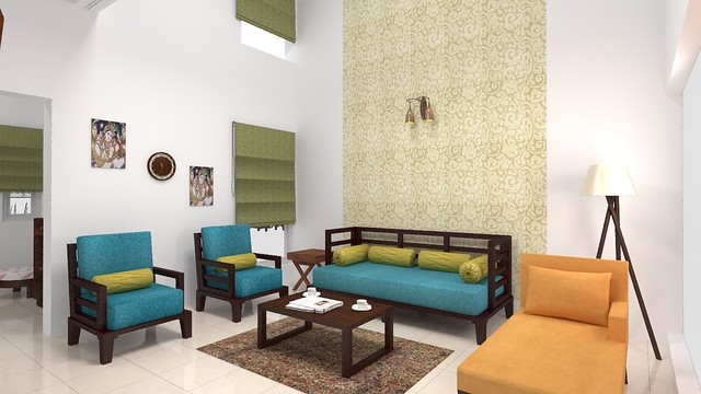 furdo design of living room with wooden furniture from urban ladder