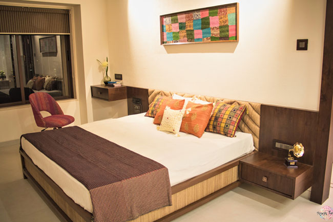 Kutch art inspired master bedroom