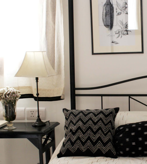 Shivani Dogra designs a black and white bedroom with ikat fabrics sourced from local market