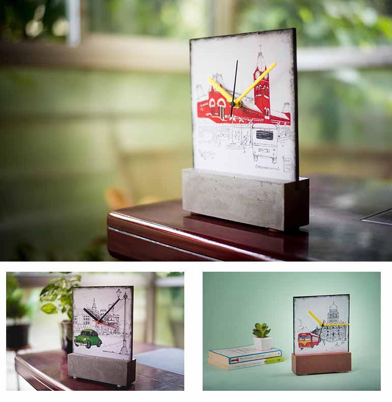 Decoupage city themed desk clocks
