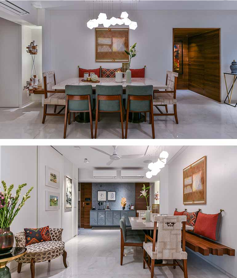 The light above dining table is a molecular abstract fixture designed in fibreglass using 3d printing.