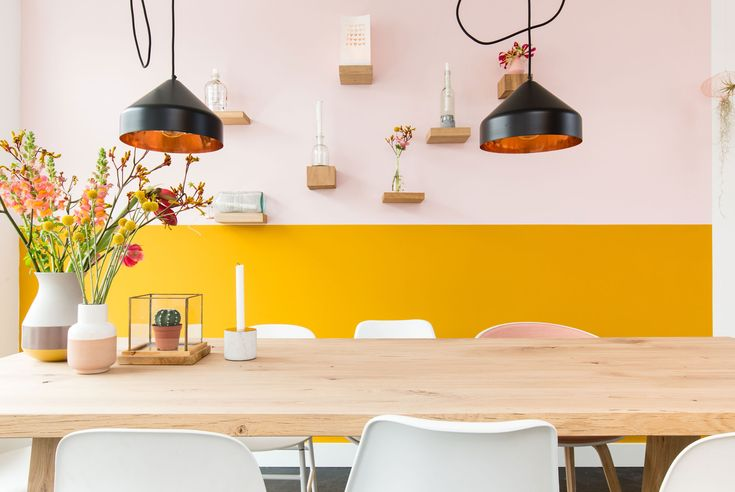 Mustard and white wall