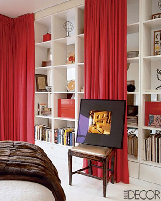 how to hang curtain to hide clutter in open shelves