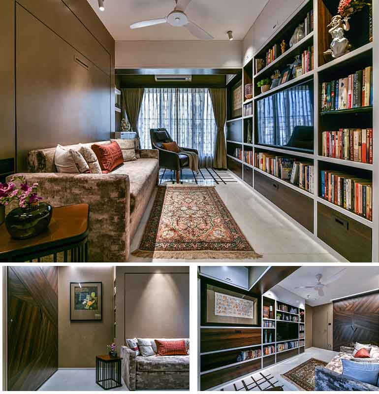 The large bookshelf is a bespoke design spanning on the entire length of the wall.  Opposite the book shelf is a fold down hydraulic bed cum couch.