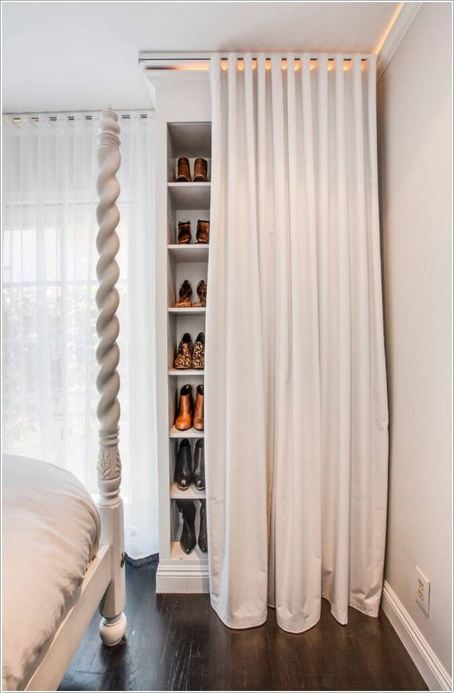 hang curtains to hide open shelves