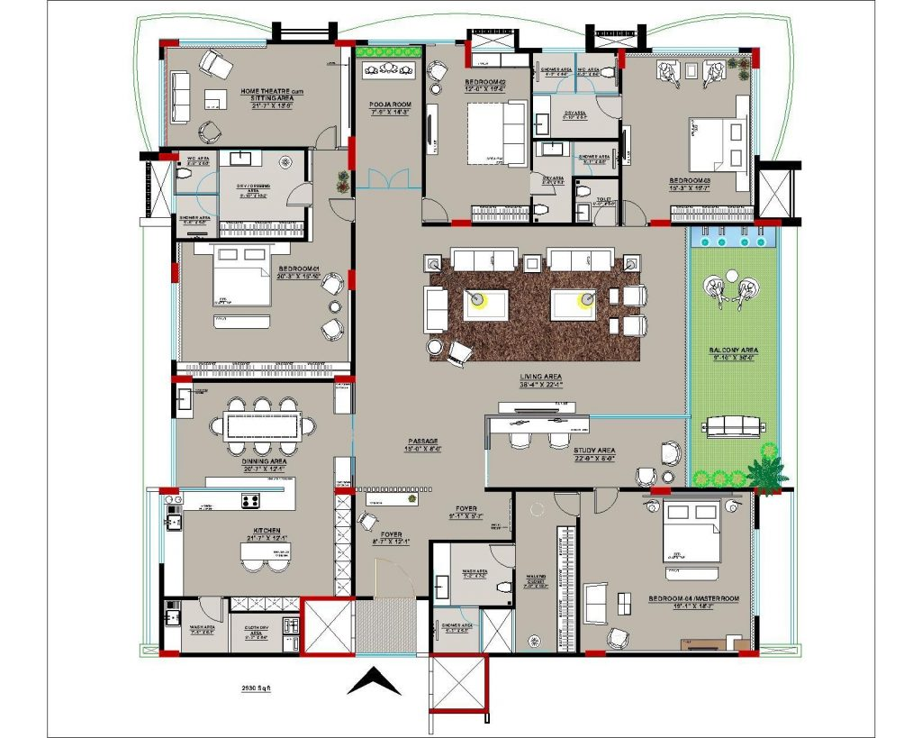 Floor plan of the 2,900 sq.ft four bedroom apartment with pooja room and study area.