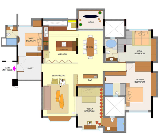 Floor plan of the four bedroom apartment in Waterfront Apartments by Panchshil in Pune